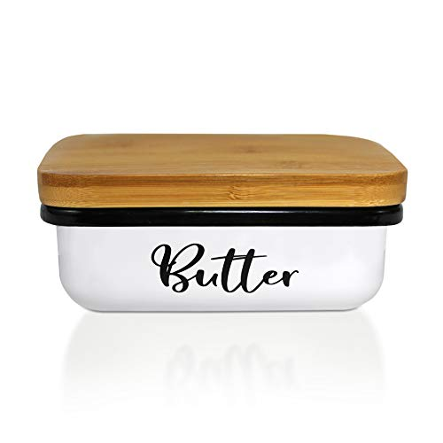 Home Acre Designs Butter Dish With Lid Unbreakable-Modern Farmhouse Kitchen Decor-Deep Mess Free Large Metal Butter Dish White-Butter Keeper Container-Bamboo Lid-Vintage Butter Dishes With Covers