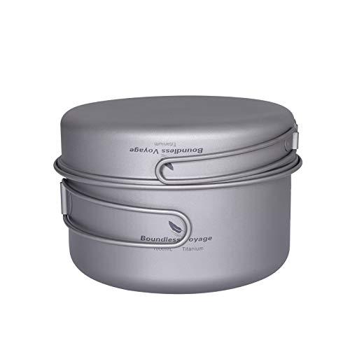 iBasingo Ti15114AI - Juego de utensilios de cocina para acampar y para exteriores, con mango plegable, kit de cocina portátil para 1 – 2 personas