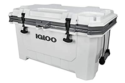 Igloo IMX 70 Quart Cooler with Cool Riser Technology, Fish Ruler, and Tie-Down Points - Heavy-Duty Marine Ice Chest (White)