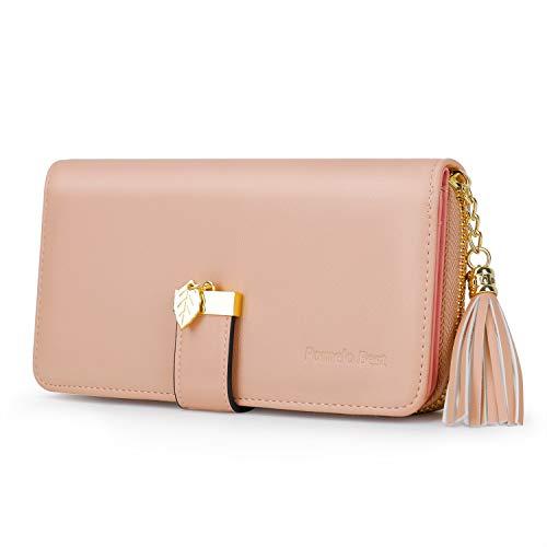 Pomelo Best Damen Geldbörse einfarbiges Portemonnaie mit 12 Kartenfächer und Kleingeldfach