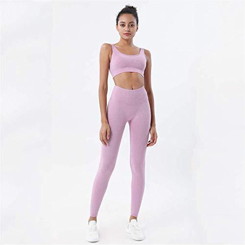 MNBGHJ 2 unids/Set de Punto sin Costuras Fitness Yoga Set chándal de Mujer Ropa Deportiva Traje de Entrenamiento Ropa de Mujer Gimnasio