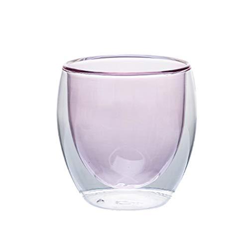 Hs&sure 250ml Gafas de café Gafas de té 2 Capas Taza de Agua Vidrio Claro de Vidrio de Vidrio de Vidrio de Vidrio de cristalería de cristalería Oficina de hogares 8x8.8cm