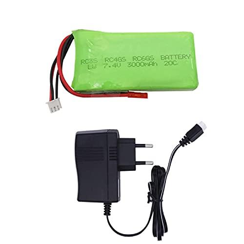 RFGTYH Batería Lipo de 7.4V 3000mah 20C para Radiolink RC3S RC4GS RC6GS Transmisor lipo 3000mAh batería batería de 7.4V 1BEU