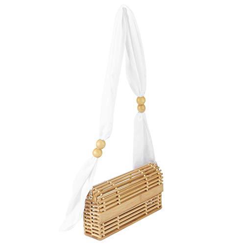 Yisentno Bolsa de ratán, Bolsa de bambú Elegante Hecha a Mano, para Vacaciones de Verano en la Playa