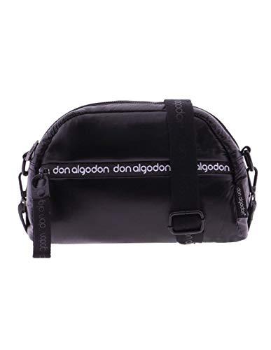 Bolso Bandolera para Mujer con Tejido Nylon y Detalles Decorativos Alejandrina Negro Bolso Bandolera de Don ALGODÓN