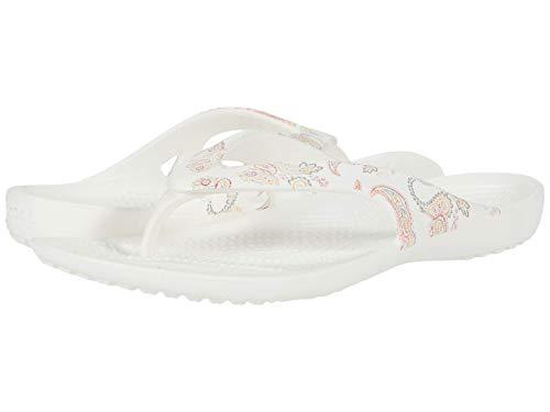 Crocs Women's Kadee II Floral Flip Flop|Casual Summer Sandal|Beach Shoe, Paisley White, 9 M US