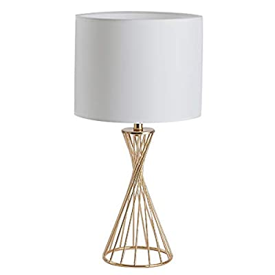 CASILVON Desk Lamp, Modern Gold Hollow Out Base Side Table Lamp with White Fabric Shade, Small Metal Bedside Nightstand Lamps for Living Room Bedrooms