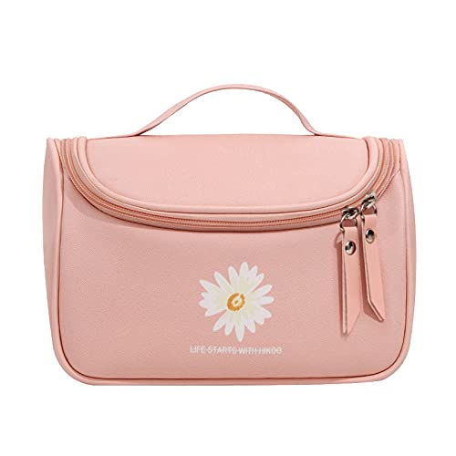 MBVBN Women's Portable Travel Cosmetic Bag ,PU Leather Washable Waterproof Beauty Cosmetic Storage Bag. (Pink)