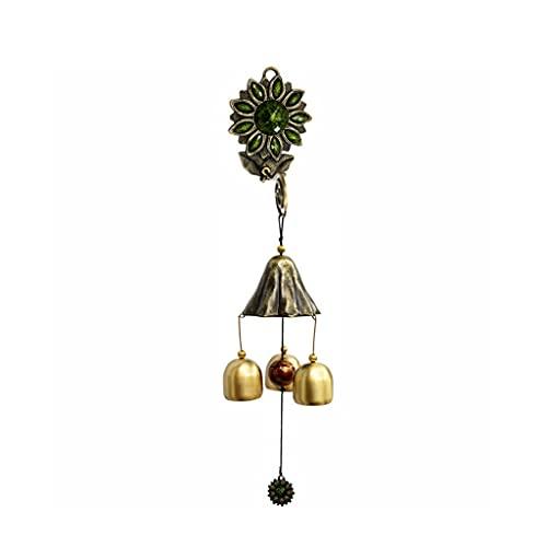 JJSPP Pure Cobre Girasol Viento de Viento Colgando Decoración Tienda Timbre Metal Cobre Bell Doorbell (Color : Green)