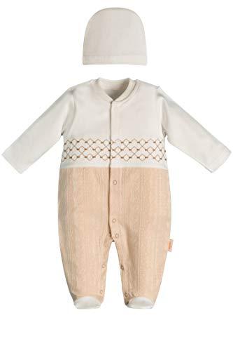 Ayla Baby Strampler Set mit Mütze für Mädchen & Jungen | Weiß & Beige in Größe 56 (0-3 Monate) | Modell der Babykleidung: Festlich Langarm Öko-Tex