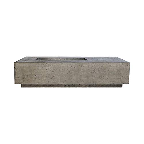 Great Price! Prism Hardscapes Tavola 5 Concrete Gas Fire Pit (PH-409-4LP), Propane, Pewter, 80x38-In...