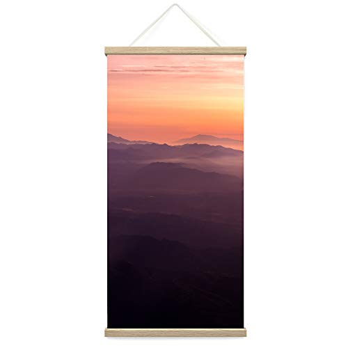 """Bestdeal Depot Hanging Poster Mountain View Sunset V Coastal Multicolor Photography Relax/Calm Romantics Sunset Canvas Prints Wall Art for Living Room, Bedroom - 18""""x36"""""""