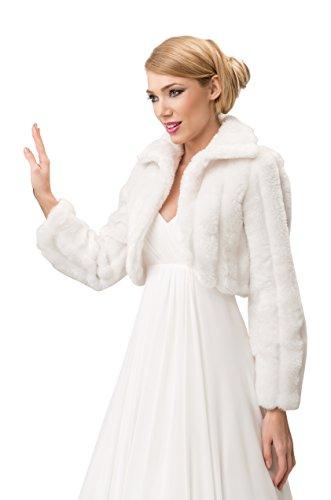 Nina Brautmoden Bolerojackchen Braut Jacke Bolero Fell Imitat Lange Ärmel mit Kragen, volles Futter - E20 Ivory - Gr XS