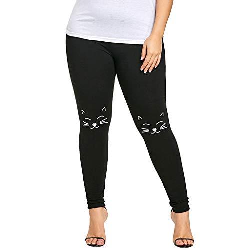 PASATO Women S-2XL Plus Size Pants Yoga Sport Fitness Pants Cat Print Knee Leggings Trousers (Black,XXL=US:XL)