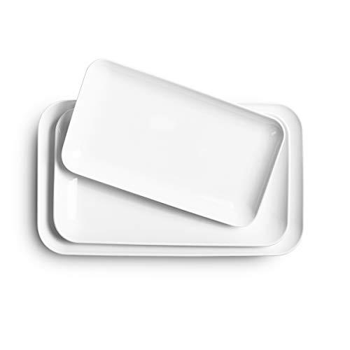 Delling Serving Platter Set -12/14/16inch White Rectangular Dessert/Salad Platters- Large Serving Trays-Dinner Plates Set for Dinner Parties Meat, Sushi, Oven Safe Dinnerware Set of 3