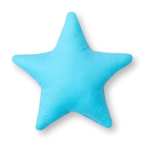 Kissen Stern Sternchen Zierkissen ca. 28 cm Kinderzimmer Zimmer Deko Plüschkissen Sternkissen Baby Kinder Dekokissen mit Füllung für Schlafzimmer Babyzimmer Kinderbett Mädchen Jungen Blau