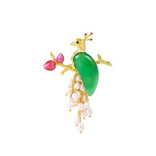 Mujer Broches Broches, elegantes broches de pavo real elegantes de la vendimia Tassel de la perla de la calcedonia, regalos para la caja de regalo del día de San Valentín chino para la madre JoyeríA D