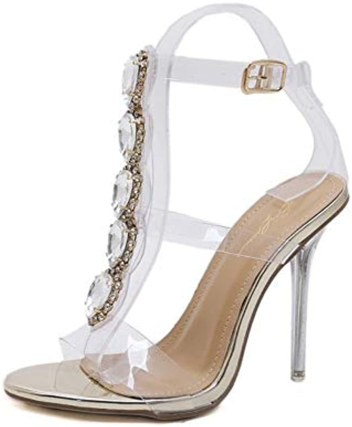 JQfashion Ladies'High Heels Transparent PVC Sexy High-Heeled Sandals with Pointed and Thin Heels