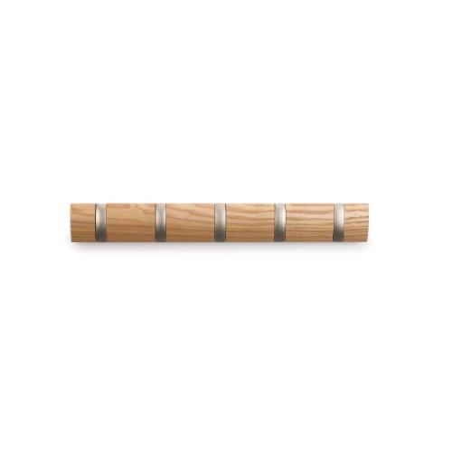 Umbra Flip 5 Garderobenhaken – Moderne, Schlichte und Platzsparende Garderobenleiste mit 5 Beweglichen Haken für Jacken, Mäntel, Schals, Handtaschen und Mehr, Natur