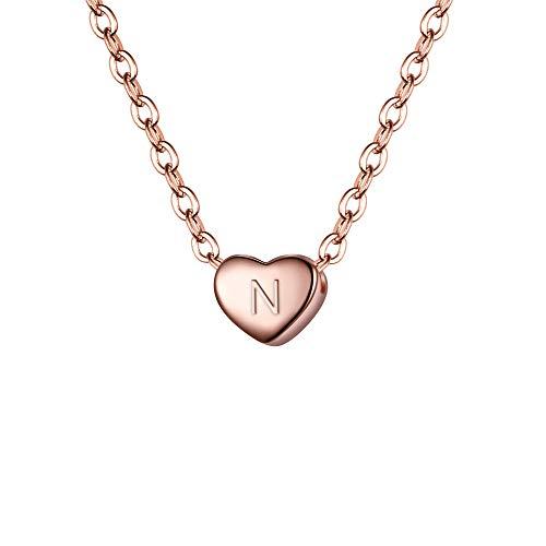 Clearine Damen Choker Halskette 925 Sterling Silber mit Buchstabe A-Z kleine Initial Herz Anhänger Kette Halsband Buchstabe N 14K Rose-Gold-Ton