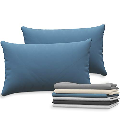 Dreamzie Juego de 2 x Fundas de Almohada 50x70 cm Azul 100% Algodon Jersey - Funda de Almohada Algodon 50x70 - Funda Cojin para Cama 50x70 - Protector de Almohada
