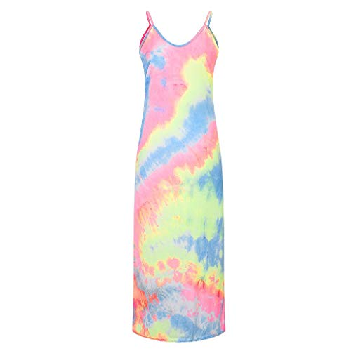 Learn More About Toimothcn Tie-dye Dress for Women Plus Size Loose Sling Dress Sleeveless Daily Casu...