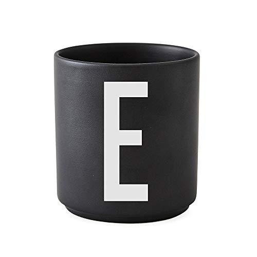 Design Letters Tasse en porcelaine personnelle A-Z (NOIR) - E