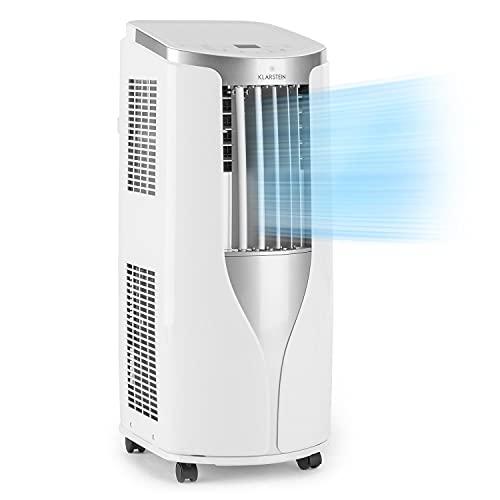 Klarstein New Breeze 7 - mobile Klimaanlage, 3-in-1: Kühlung, Entfeuchtung & Ventilation, 7.000 BTU / 2,1 kW, Energieeffizienzklasse A, Raumgröße: 21-34 m², 16-30 °C, 4 Bodenrollen, Timer, weiß