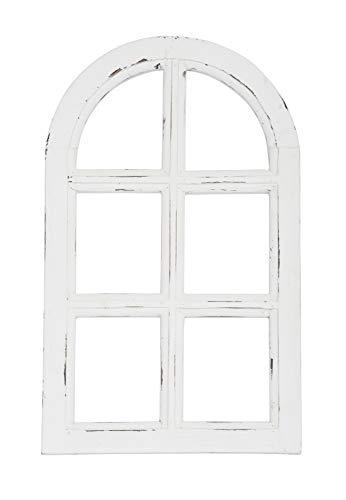 Vintage Living Nostalgie Holz Deko Fenster weiß gewischt halbrund 29,5 x 49 cm