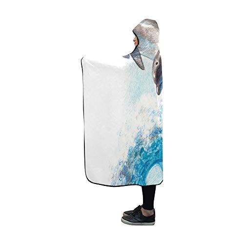 JOCHUAN Mit Kapuze Decke Farbe Zeichnung Zwei Delphine auf Wave Decke 60 x 50 Zoll Comfotable Hooded Throw Wrap