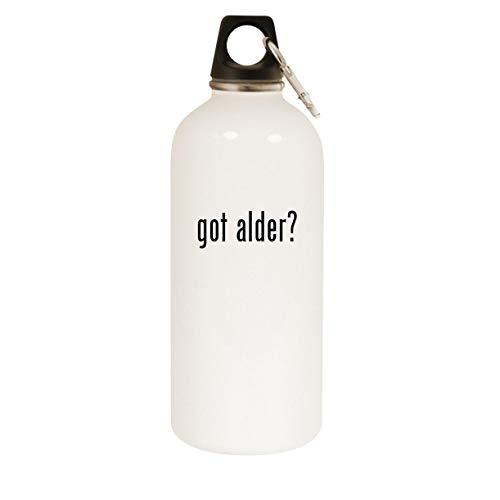 got alder? - 20oz Stainless Steel White Water Bottle with Carabiner, White