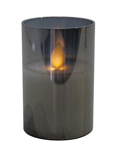 Hochwertige & Edle LED Kerze im Glas - Realistisch Flackernd - Neuartiges Design (Grau, Höhe: 7,5cm - Ø 5cm)