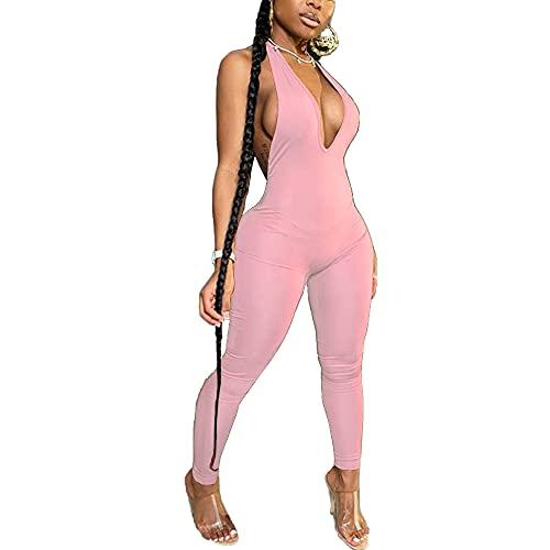 LuFeng Women's Sexy Bodycon Halter Deep V Neck Backless Party Long Jumpsuits Romper Pink