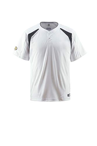 DESCENTE(デサント) ベースボールシャツ(2ボタン) DB205 Sホワイト×ブラック(SWBK) S