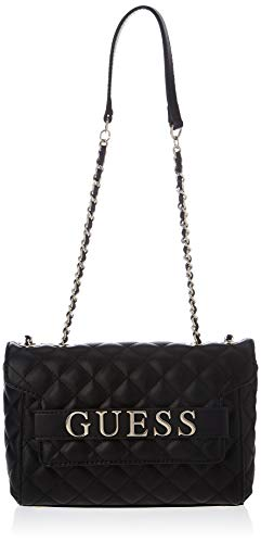 GUESS womens Illy Convertible Crossbody Flap, Black, One Size US