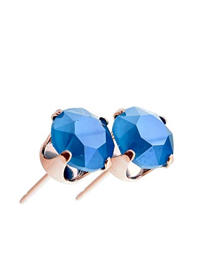 pewterhooter women's Rose gold stud earrings made with Azure Blue crystal from Swarovski. Gift box. Made in the UK. Hypoallergenic & Nickle Free for Sensitive Ears.