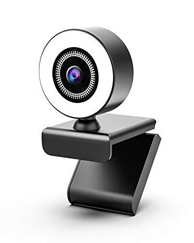 OVIFM Webcam con Micrófono y Anillo de Luz, Camara Web 2K para...