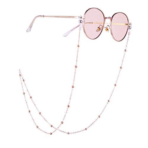 Fenical Brillenkette Anti-Rutsch Perlen Brillen Halskette Brillenband Damen Herren Lesebrille Kette für Eyewear Sonnenbrillen Sportbrillen (Rosagold Perlen Muster)