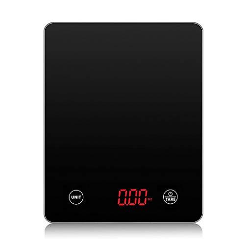 Weegschaal van roestvrij staal elektronische weegschaal, met LCD-display en tarrafunctie (gram). Geharde glazen weegschaal voor het koken. Gewichtsverlies bij het bakken