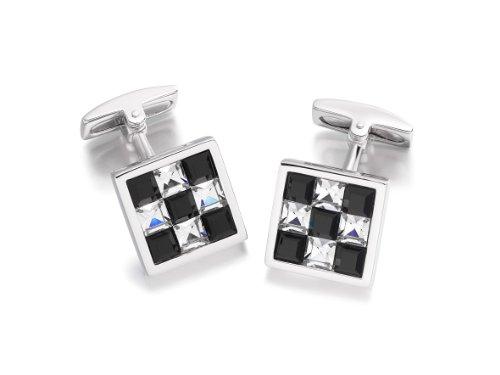 Hoxtons London Herren Sterling Silber Schwarz/weiße Kristall Schachbrett Viereckige Manschettenknöpfe