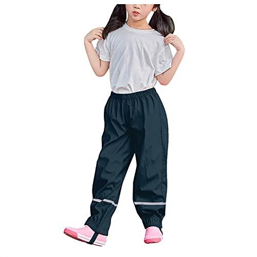 Vexiangni Pantalones de lluvia para niños, unisex, peto de lluvia, impermeables, resistentes al viento, pantalones de esquí, transpirables y ajustables, con tirantes forrados, Dark Blue H, M