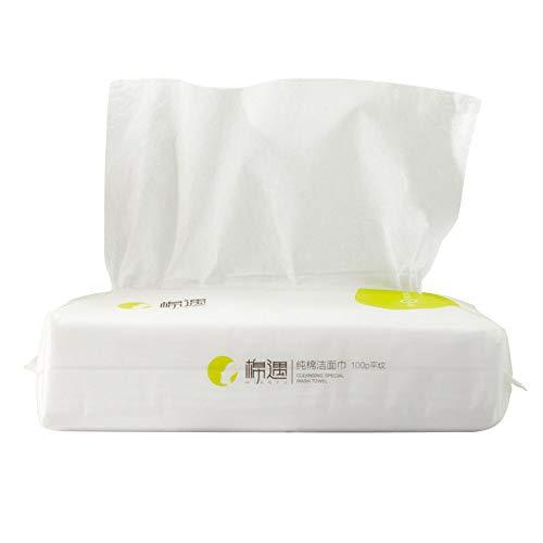 WEF (100 * 3) Serviette de Visage jetable Tissus de Coton avancés pour Un Nettoyage en Profondeur de la Peau Sensible 3 Bags