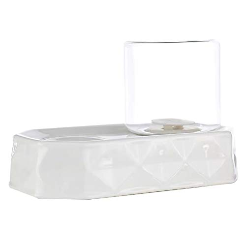 Tayer Fuente para Gatos, Bebedero Gatos, cerámica de Vidrio No moje el dispensador de Agua automática automática de la Barbilla, fácil de Limpiar, Puede ser Utilizado por Gatos y Perros,White