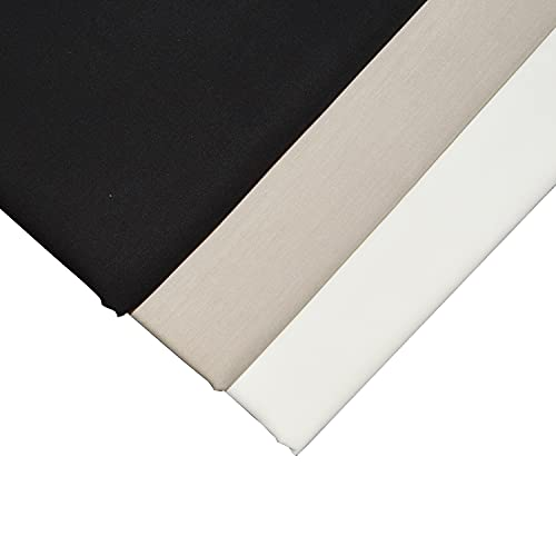 Baumwoll-Popelin-Stoff, 100 % Baumwolle, Popeline, 3 Stück, 1 m x 1,46 m, Ecru/Beige/Schwarz)