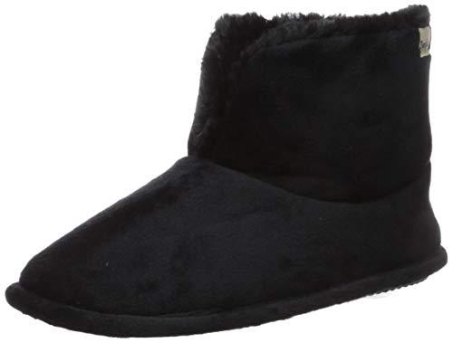 Dearfoams Women's Sara Velour Bootie Slipper, Black, Large