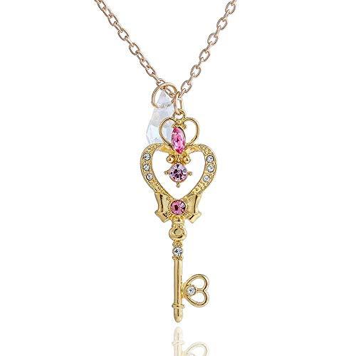 Collar de dibujos animados de Color dorado de cristal sintético de Japón, colgante de llave de corazón de Luna, collar de Cosplay, regalo de Cosplay para mujer