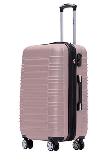 BEIBYE 2088 Zwillingsrollen Reisekoffer Koffer Trolleys Hartschale M-L-XL-Set (Rosa Gold, XL)