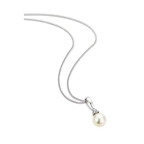 Orovi Collar de perlas para mujer - Colgante con cadena de oro blanco de 9 ct/375 con diamantes de talla brillante