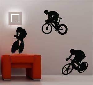 Online Design 3 x Ciclisti Biciclette Adesivo Vinile da Parete Cameretta Bambini - Violetto