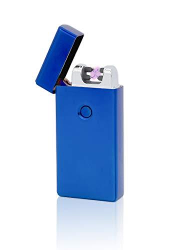 TESLA Lighter TESLA Lighter T09 Lichtbogen Feuerzeug, Plasma Double-Arc, elektronisch wiederaufladbar, aufladbar mit Strom per USB, ohne Gas und Benzin, mit Ladekabel, in edler Geschenkverpackung, Blau Blau
